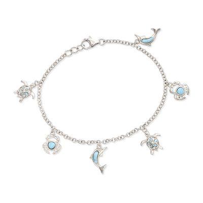 Larimar Sea Creature Charm Bracelet in Sterling Silver, , default