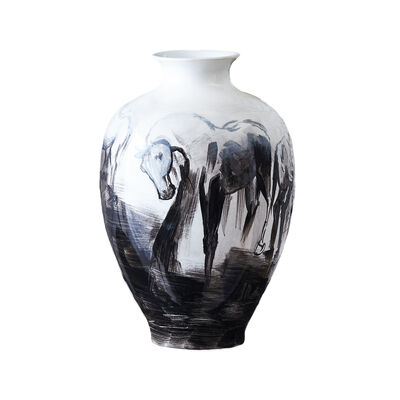 Large Hand-Painted Horse Porcelain Jar, , default