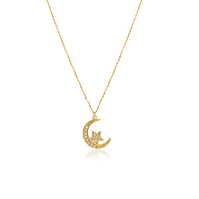 .16 ct. t.w. Diamond Half-Moon and Star Necklace in 14kt Yellow Gold, , default