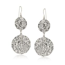 Sterling Silver Textured Double Circle Drop Earrings, , default