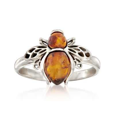 Amber Bumble Bee Ring in Sterling Silver, , default