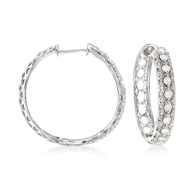 1.00 ct. t.w. Diamond Hoop Earrings in Sterling Silver