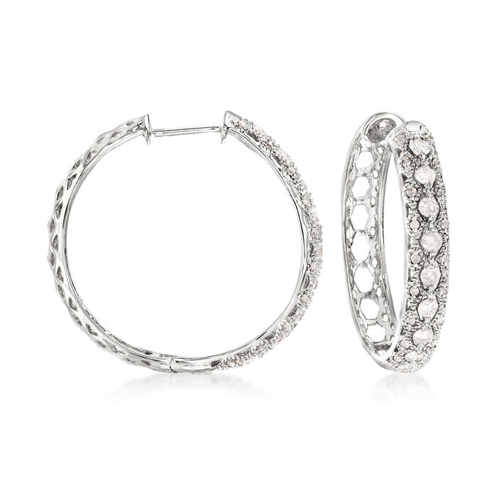 1.00 ct. t.w. Diamond Hoop Earrings in Sterling Silver. 1""