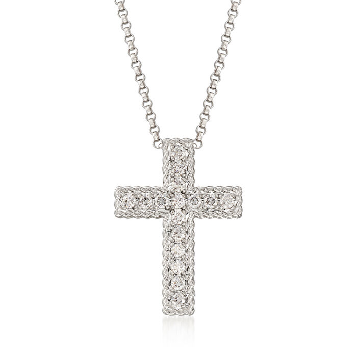 """Roberto Coin """"Princess"""" .23 ct. t.w. Diamond Cross Necklace in 18kt White Gold"""