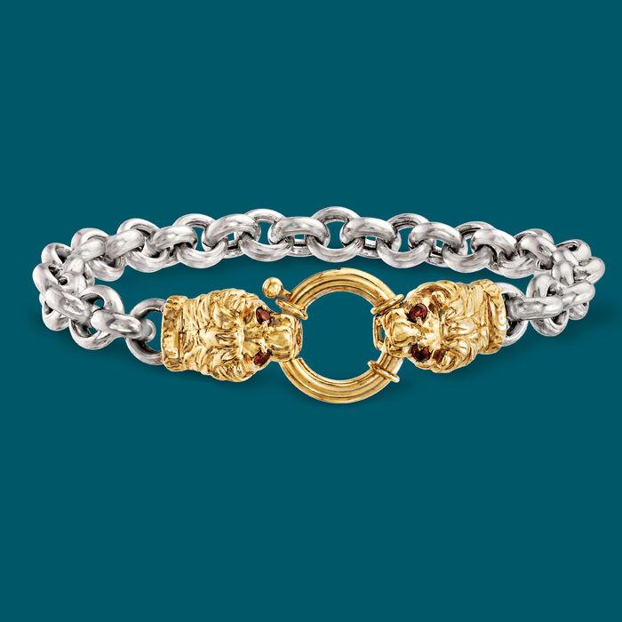 .20 ct. t.w. Garnet Double Lion Head Bracelet in Two-Tone Sterling Silver