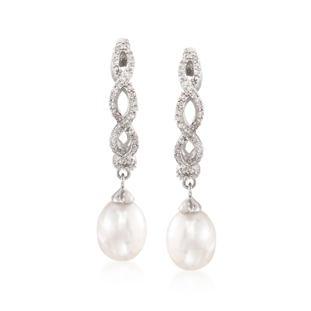 22ece51f5 7-7.5mm Cultured Pearl and .20 ct. t.w. Diamond Braided Hoop Drop ...