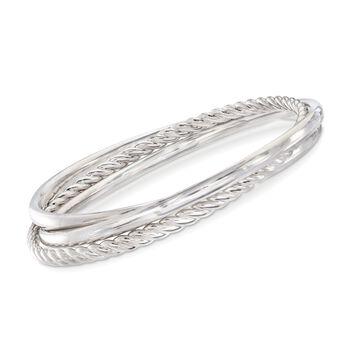 "Italian Andiamo 14kt White Gold Bangle Bracelet Set. 7.5"", , default"