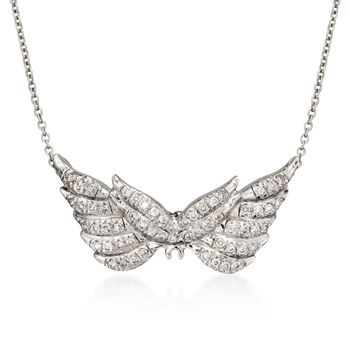 "Roberto Coin ""Tiny Treasures"" .24 ct. t.w. Angel Wing Diamond Necklace in 18kt White Gold. 16"", , default"