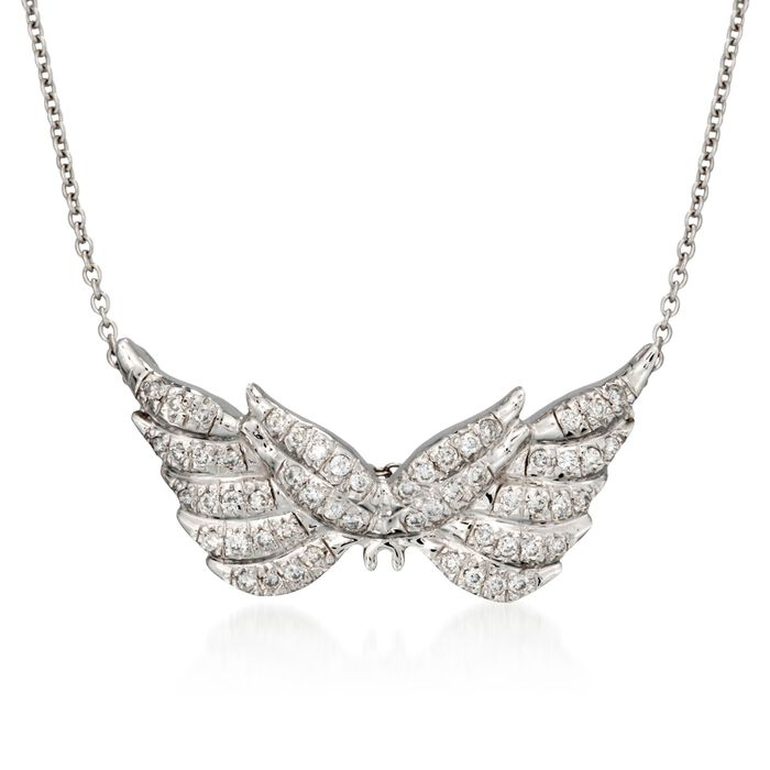 """Roberto Coin """"Tiny Treasures"""" .24 ct. t.w. Angel Wing Diamond Necklace in 18kt White Gold. 16"""", , default"""