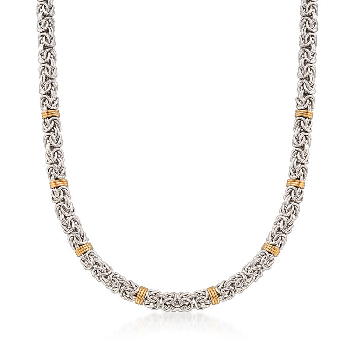 Sterling Silver Byzantine Necklace with 14kt Gold Stations, , default