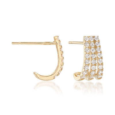 .25 ct. t.w. CZ Three-Row J-Hoop Earrings in 14kt Yellow Gold, , default