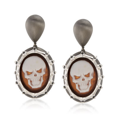 Italian .30 ct. t.w. Black CZ Skull Cameo Drop Earrings in Sterling Silver, , default