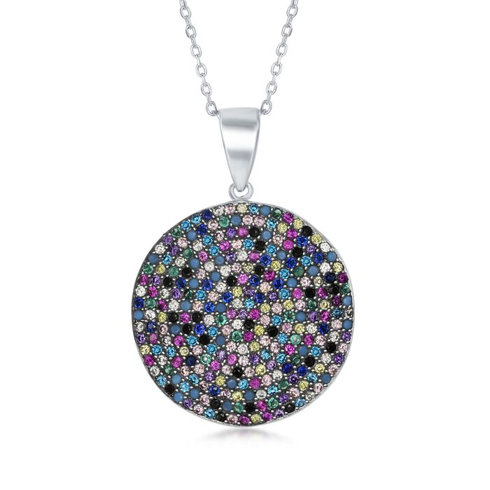 """Pave Multicolored CZ Circle Pendant Necklace in Sterling Silver. 18"""""""