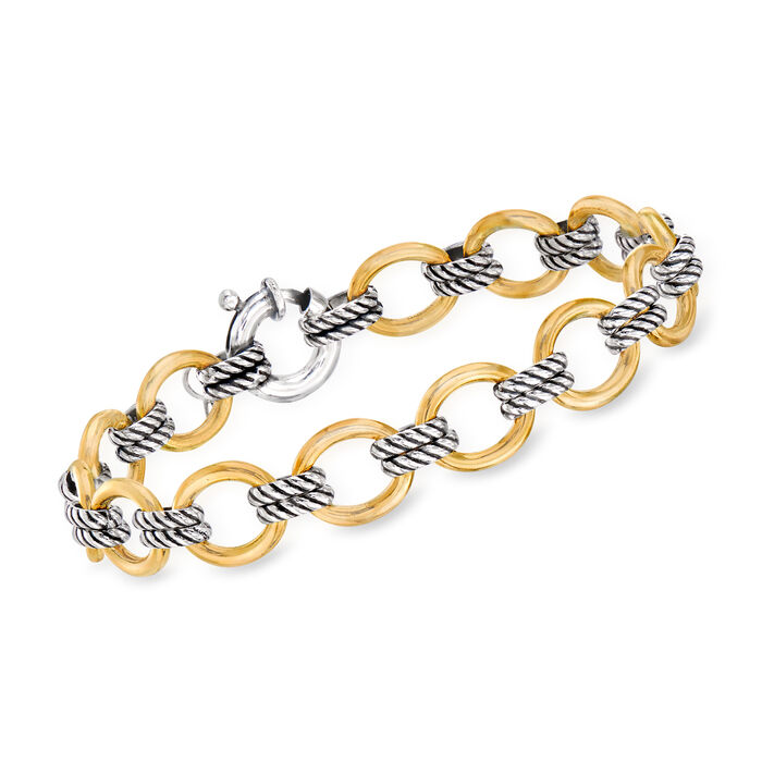 "Phillip Gavriel ""Italian Cable"" Link Bracelet in 18kt Yellow Gold and Sterling Silver. 7.5"", , default"