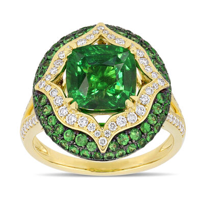 4.91 ct. t.w. Tsavorite and .62 ct. t.w. Diamond Cocktail Ring in 14kt Yellow Gold