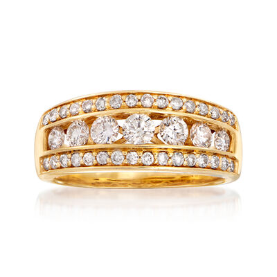 C. 1990 Vintage .80 ct. t.w. Channel-Set Diamond Ring in 14kt Yellow Gold, , default