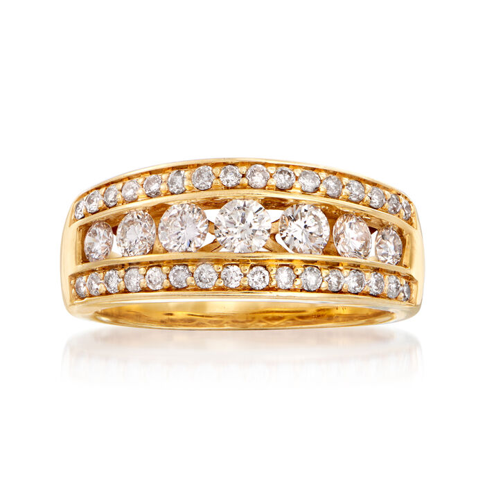 C. 1990 Vintage .80 ct. t.w. Channel-Set Diamond Ring in 14kt Yellow Gold. Size 6.5