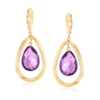 15.00 ct. t.w. Amethyst Teardrop Earrings in 14kt Yellow Gold