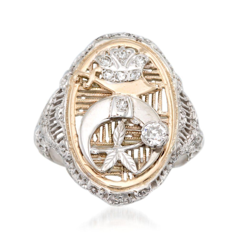 C 2000 Vintage 20 Ct Tw Diamond Shriners Symbol Ring In 14kt