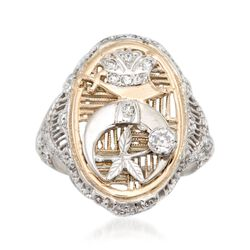 C. 2000 Vintage .20 ct. t.w. Diamond Shriners Symbol Ring in 14kt Two-Tone Gold, , default