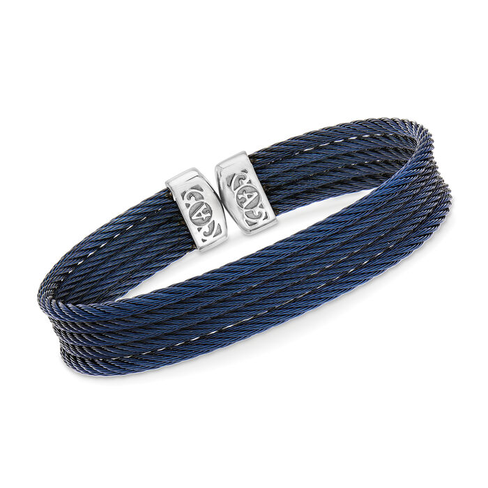 "ALOR ""Classique"" Blue Stainless Steel Cable Cuff Bracelet. 7"", , default"