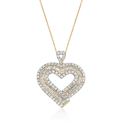 3.00 ct. t.w. Diamond Heart Pendant Necklace in 14kt Yellow Gold, , default