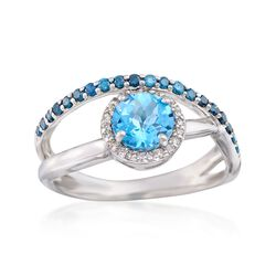 .80 Carat Blue Topaz Crisscross Ring With Blue and White Diamonds in Sterling Silver, , default