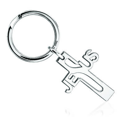 Sterling Silver  Jesus Cross Key Ring, , default