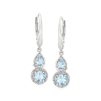 1.25 ct. t.w. Aquamarine and .13 ct. t.w. Diamond Drop Earrings in Sterling Silver