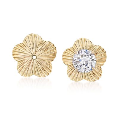 14kt Yellow Gold Flower Earring Jackets, , default
