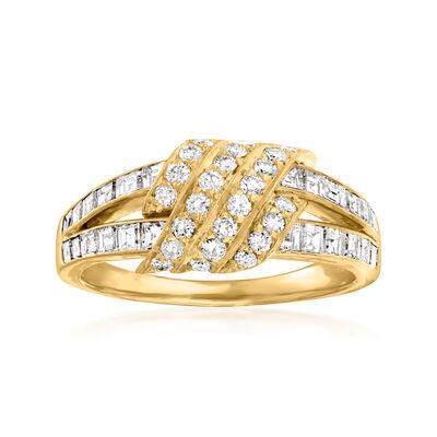 C. 1988 Vintage 1.50 ct. t.w. Diamond Fashion Ring in 18kt Yellow Gold with British Hallmark
