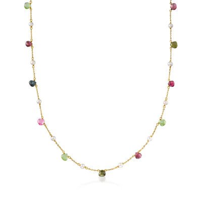 Italian 3.5mm Cultured Pearl and 6.50 ct. t.w. Multicolored Tourmaline Station Necklace in 14kt Yellow Gold, , default