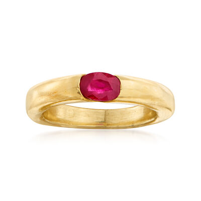 C. 1990 Vintage Cartier .50 Carat Ruby Ring in 18kt Yellow Gold, , default