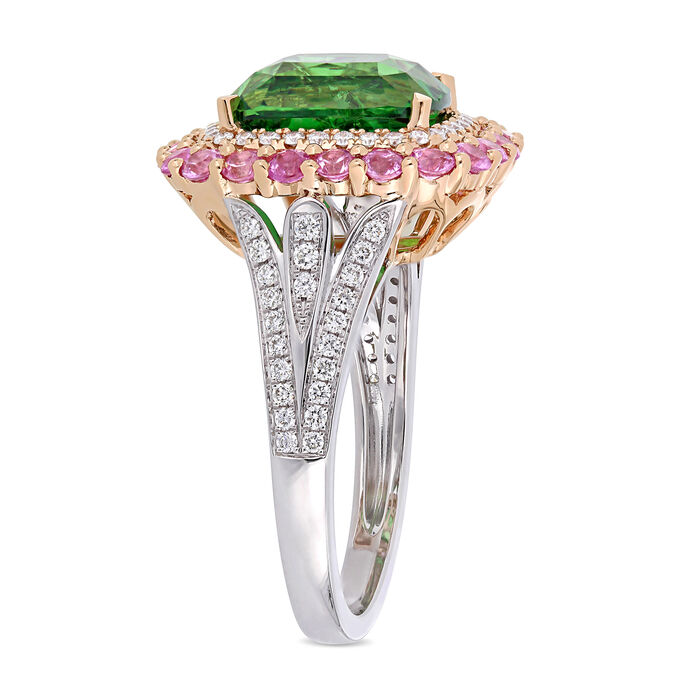 5.40 Carat Tsavorite, .90 ct. t.w. Pink Sapphire and .40 ct. t.w. Diamond Cocktail Ring in 14kt Two-Tone Gold