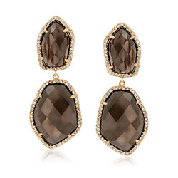 26.00 ct. t.w. Smoky Quartz and 4.70 ct. t.w. White Topaz Drop Earrings in 18kt Gold Over Sterling, , default