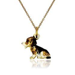 "14kt Yellow Gold Beagle Pendant Necklace. 18"", , default"