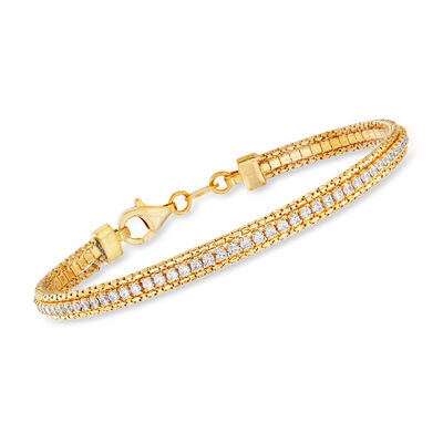 Italian 2.80 ct. t.w. CZ Bracelet in 22kt Gold Over Sterling, , default