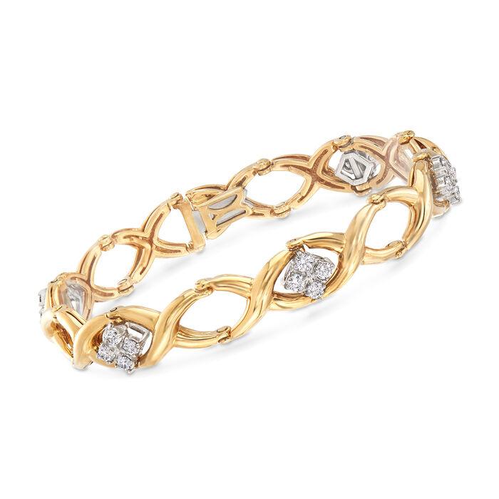 "C. 1990 Vintage Jabel 1.40 ct. t.w. Diamond Oval-Link Bracelet in 18kt Yellow Gold. 7"""