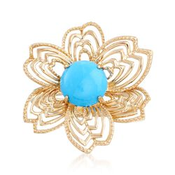 8mm Turquoise Flower Ring in 14kt Yellow Gold, , default
