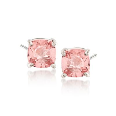 2.20 ct. t.w. Cushion-Cut Mystic Pink Topaz Stud Earrings in Sterling Silver, , default