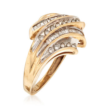 C. 1980 Vintage .50 ct. t.w. Baguette and Round Diamond Ring in 10kt Yellow Gold. Size 7, , default