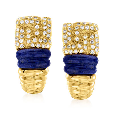 C. 2000 Vintage Boucheron Lapis and .60 ct. t.w. Diamond Earrings in 18kt Yellow Gold