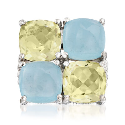 7.00 ct. t.w. Milky Aquamarine and 5.00 ct. t.w. Lemon Quartz Ring in Sterling Silver, , default