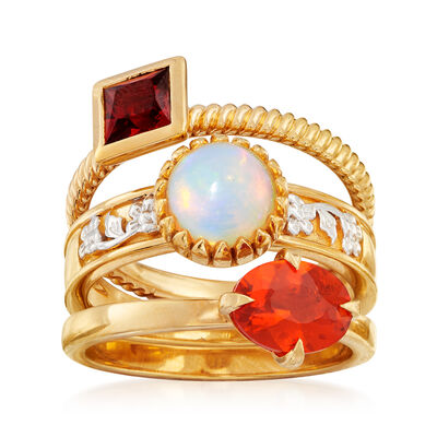 White and Orange Opal and .70 ct. t.w. Garnet Jewelry Set: Three Rings in 18kt Gold Over Sterling, , default