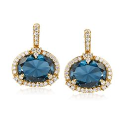 "Judith Ripka ""Monaco"" 10.00 ct. t.w. London Blue Spinel and .82 ct. t.w. Diamond Drop Earrings in 18kt Yellow Gold , , default"