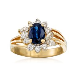 C. 1985 Vintage 1.10 Carat Sapphire and .45 ct. t.w. Diamond Ring in 18kt Yellow Gold. Size 5, , default