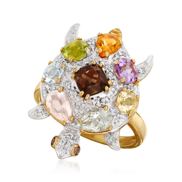 3.00 ct. t.w. Multi-Gemstone Turtle Ring in 18kt Gold Over Sterling
