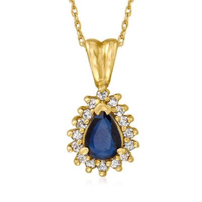C. 1980 Vintage .40 Carat Sapphire and .25 ct. t.w. Diamond Pendant Necklace in 14kt Yellow Gold