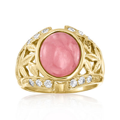 C. 1980 Vintage 3.00 Carat Rose Quartz and .30 ct. t.w. CZ Ring in 10kt Yellow Gold