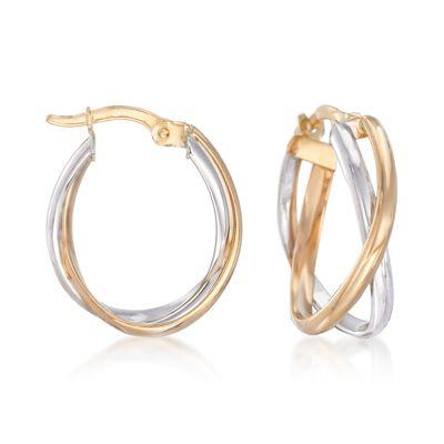 Italian 18kt Two-Tone Gold Crisscross Hoop Earrings, , default